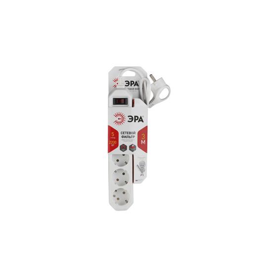 USF-5es-3m-W ЭРА Сет.фильтр базовая защита, с/з, с выкл, 5гн, 3м, ПВС,  10А, белый (20/600)
