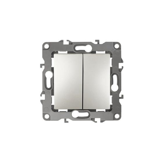 12-1004-15 ЭРА Выключатель двойной, 10АХ-250В, IP20, без м.лапок, Эра12, перламутр (10/100/2500)