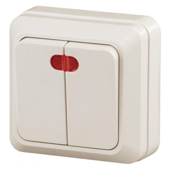 2-105-02 Intro Выключатель двойной с подсветкой, 10А-250В, IP20, ОУ, Quadro, сл.кость (10/200/3600)