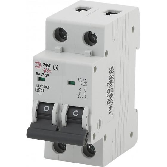 ЭРА Pro Автоматический выключатель NO-900-22 ВА47-29 2P 4А кривая C (6/90/1890)