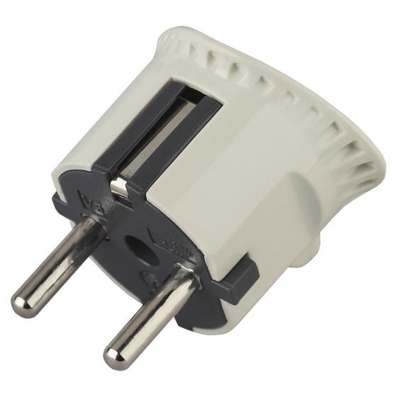 V5 ЭРА Вилка плоская c/з 16A прямой ввод белая (10/200/6000)