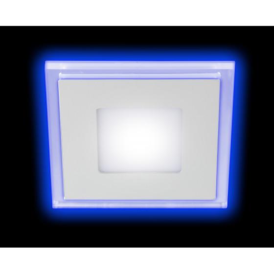 LED 4-9 BL Светильник ЭРА светодиодный квадратный c cиней подсветкой LED 9W  540LM 220V 4000K (40/60