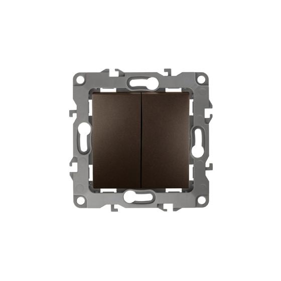 12-1004-13 ЭРА Выключатель двойной, 10АХ-250В, IP20, без м.лапок, Эра12, бронза (10/100/2500)