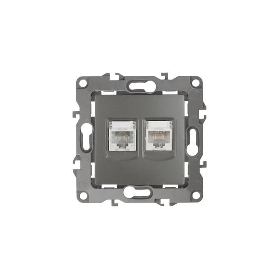 12-3109-12 ЭРА Розетка комбинированная RJ45+RJ11, IP20, Эра12, графит (10/100/2500)