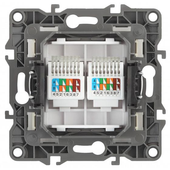 12-3108-12 ЭРА Розетка информационная двойная 2XRJ45, IP20, Эра12, графит (10/100/2500)