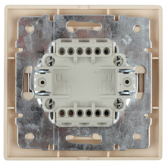 1-105-02 Intro Выключатель двойной с подсветкой, 10А-250В, IP20, СУ, Plano, сл.кость (10/200/2400)