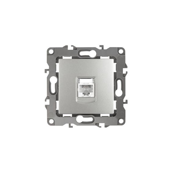 12-3105-03 ЭРА Розетка телефонная RJ11, IP20, Эра12, алюминий (10/100/2500)