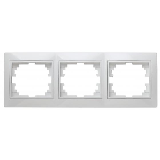 Рамка для розеток и выключателей Intro Plano 1-503-01 на 3 поста горизонтальная, СУ, белый