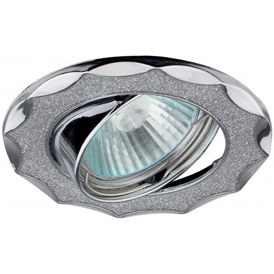"""DK17 CH/SH SL Светильник ЭРА декор """"звезда  со стеклянной крошкой"""" MR16,12V/220V, 50W,хром/серебряны"""