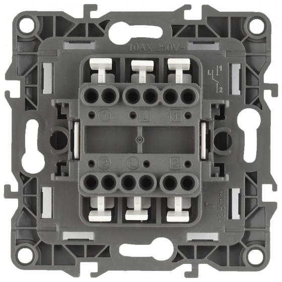 12-1106-01 ЭРА Переключатель двойной, 10АХ-250В, IP20, Эра12, белый (10/100/3200)