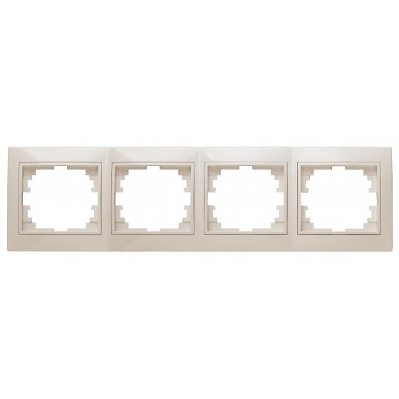 Рамка для розеток и выключателей Intro Plano 1-504-02 на 4 поста горизонтальная, СУ, слоновая кость