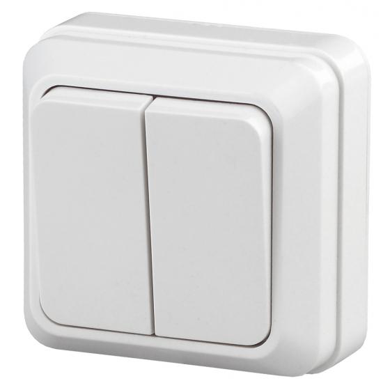 2-104-01 Intro Выключатель двойной, 10А-250В, IP20, ОУ, Quadro, белый (10/200/3600)