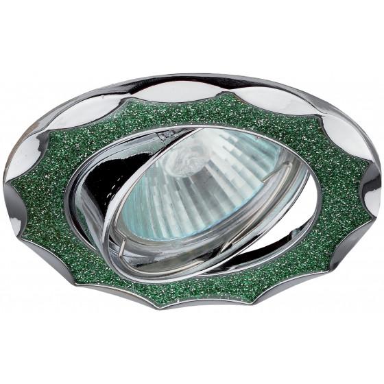 "DK17 CH/SH GR Светильник ЭРА декор ""звезда  со стеклянной крошкой"" MR16,12V/220V, 50W, хром/зеленый"