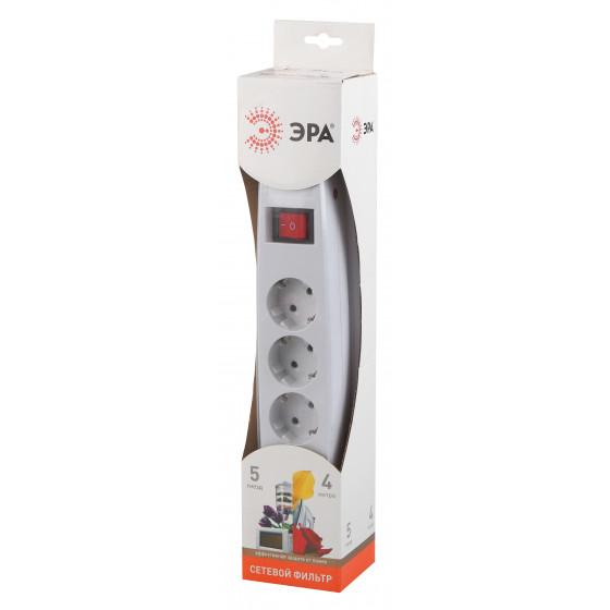 Сетевой фильтр ЭРА  SF-5es-4m-W с надежной защитой с заземлением с выключателем 5 розеток 4м 10А белый