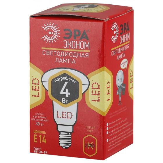ECO LED R39-4W-827-E14 ЭРА (диод, рефлектор, 4Вт, тепл, E14) (10/100/4200)