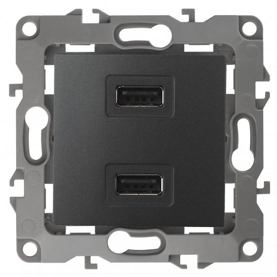 12-4110-05 ЭРА Устройство зарядное USB, 230В/5В-2100мА, IP20, Эра12, антрацит (6/60/1920)