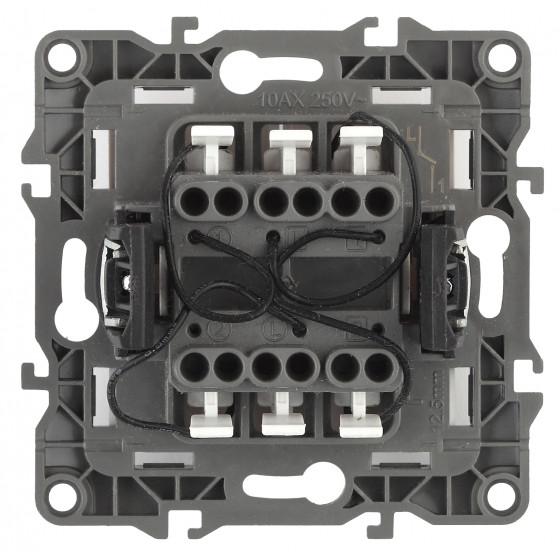 12-1105-02 ЭРА Выключатель двойной с подсветкой, 10АХ-250В, IP20, Эра12, слоновая кость (10/100/3200