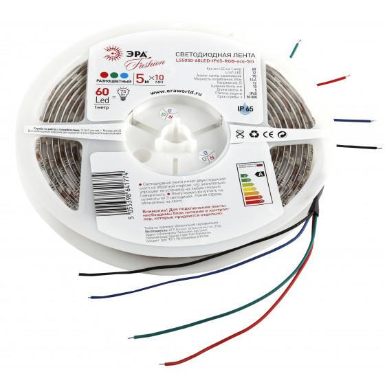 ЭРА Лента светодиодная LS5050-14,4-60-12-RGB-IP65-1 year-5m (50/2400)