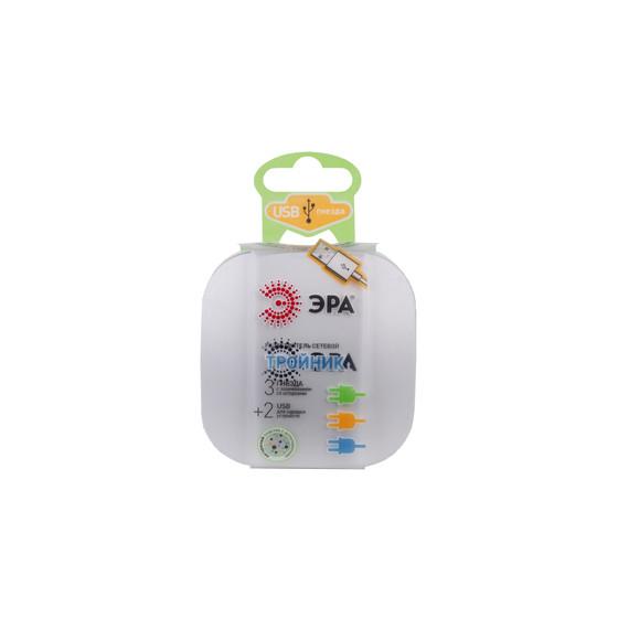 ЭРА Тройник SP-3e-USB-2A 3гн 220V + 2xUSB 2100mA, c заземл, со шт (белый) (6/36/864)