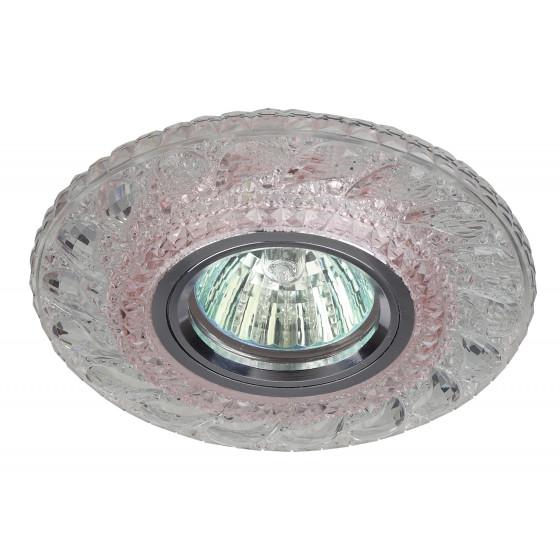 DK LD18 SL PK/WH Светильник ЭРА декор cо светодиодной подсветкой MR16, прозрачный розовый (50/1200)