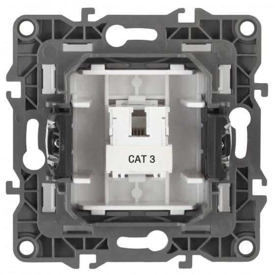 12-3105-06 ЭРА Розетка телефонная RJ11, IP20, Эра12, чёрный (10/100/2400)