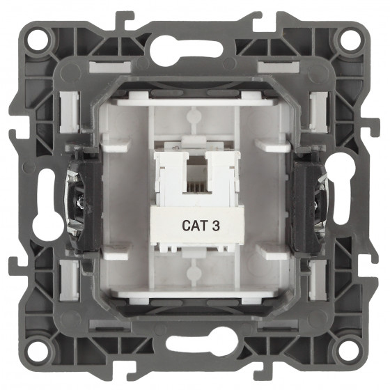 12-3105-05 ЭРА Розетка телефонная RJ11, IP20, Эра12, антрацит (10/100/2400)