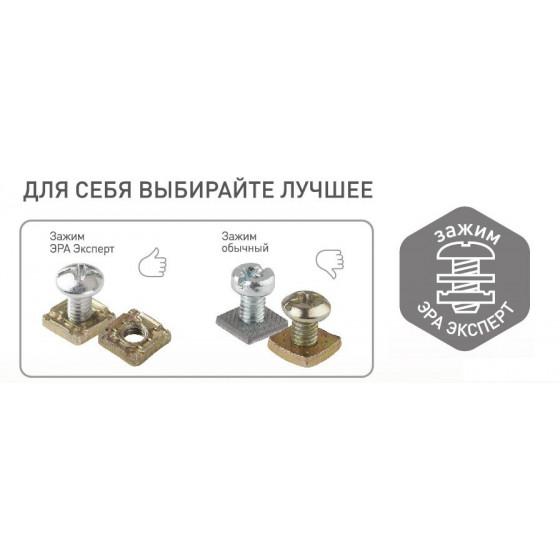 11-2206-01 ЭРА Розетка 2х2P+E Schuko со шторками, 16A-250В, IP20, ОУ, Эра Эксперт, белый (12/120/192