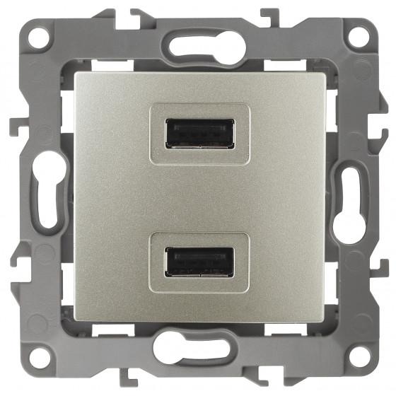 12-4110-04 ЭРА Устройство зарядное USB, 230В/5В-2100мА, IP20, Эра12, шампань (6/60/1920)