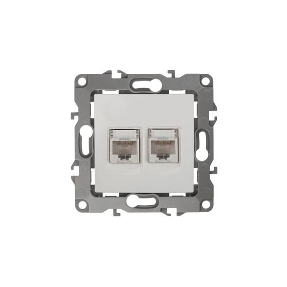 12-3108-01 ЭРА Розетка информационная двойная 2XRJ45, IP20, Эра12, белый (10/100/3200)