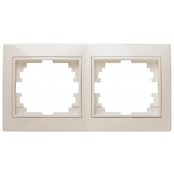 Рамка для розеток и выключателей Intro Plano 1-502-02 на 2 поста горизонтальная, СУ, слоновая кость