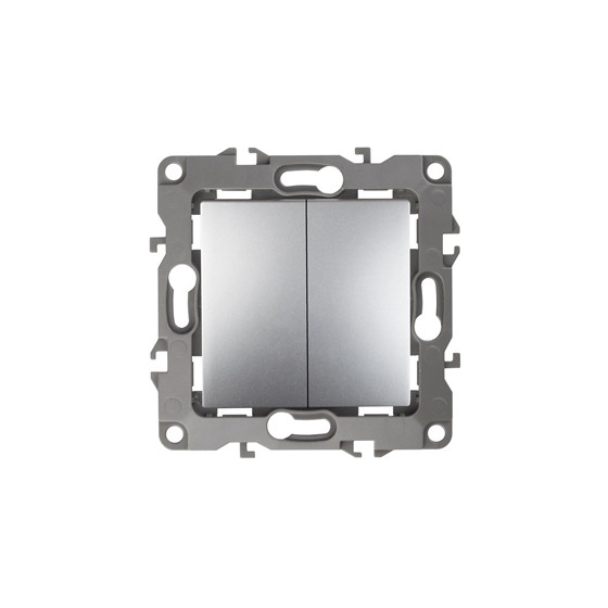 12-1004-03 ЭРА Выключатель двойной, 10АХ-250В, IP20, без м.лапок, Эра12, алюминий (10/100/2500)