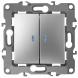 12-1105-03 ЭРА Выключатель двойной с подсветкой, 10АХ-250В, IP20, Эра12, алюминий (10/100/2500)