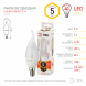 LED BXS-5W-827-E14 ЭРА (диод, свеча на ветру, 5Вт, тепл, E14) (10/100/2800)