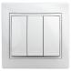 1-106-01 Intro Выключатель тройной, 10А-250В, IP20, СУ, Plano, белый (10/200/2400)