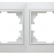 Рамка для розеток и выключателей Intro Plano 1-502-01 на 2 поста горизонтальная, СУ, белый
