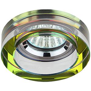 DK38 CH/MIX Светильник ЭРА декор кругл «толст.стекло» MR16,12V/220V, 50W, хром/мультиколор (3/30/84)