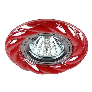 DK4 CH/R Светильник ЭРА декор керамика «косичка» MR16, 12/220 V, хром/красный (3/30/990)