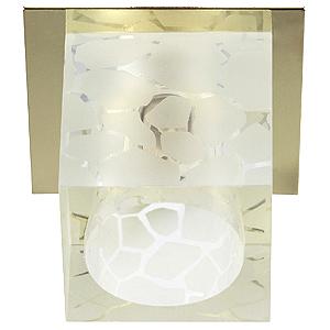 DK40 GD/WH Светильник ЭРА декор «куб хрустальный с пятн.рис» G9,220V, 50W, золото/прозрачный (50/120