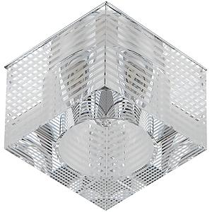 DK11 CH/WH Светильник ЭРА декор «куб с горизонтальными полосками» G9,220V, 40W, хром/прозрачный (3/3