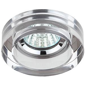 DK38 CH/SL Светильник ЭРА декор кругл «толст.стекло» MR16,12V/220V, 50W, хром/зеркальный (30/900)