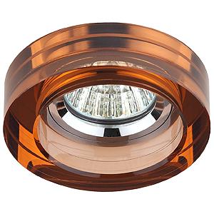 DK38 CH/BR Светильник ЭРА декор кругл «толст.стекло» MR16,12V/220V, 50W, хром/коричневый (3/30/1080)